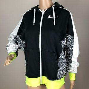 Nike Zip Up Hoodie Black Neon Graphic Sweater Lrg